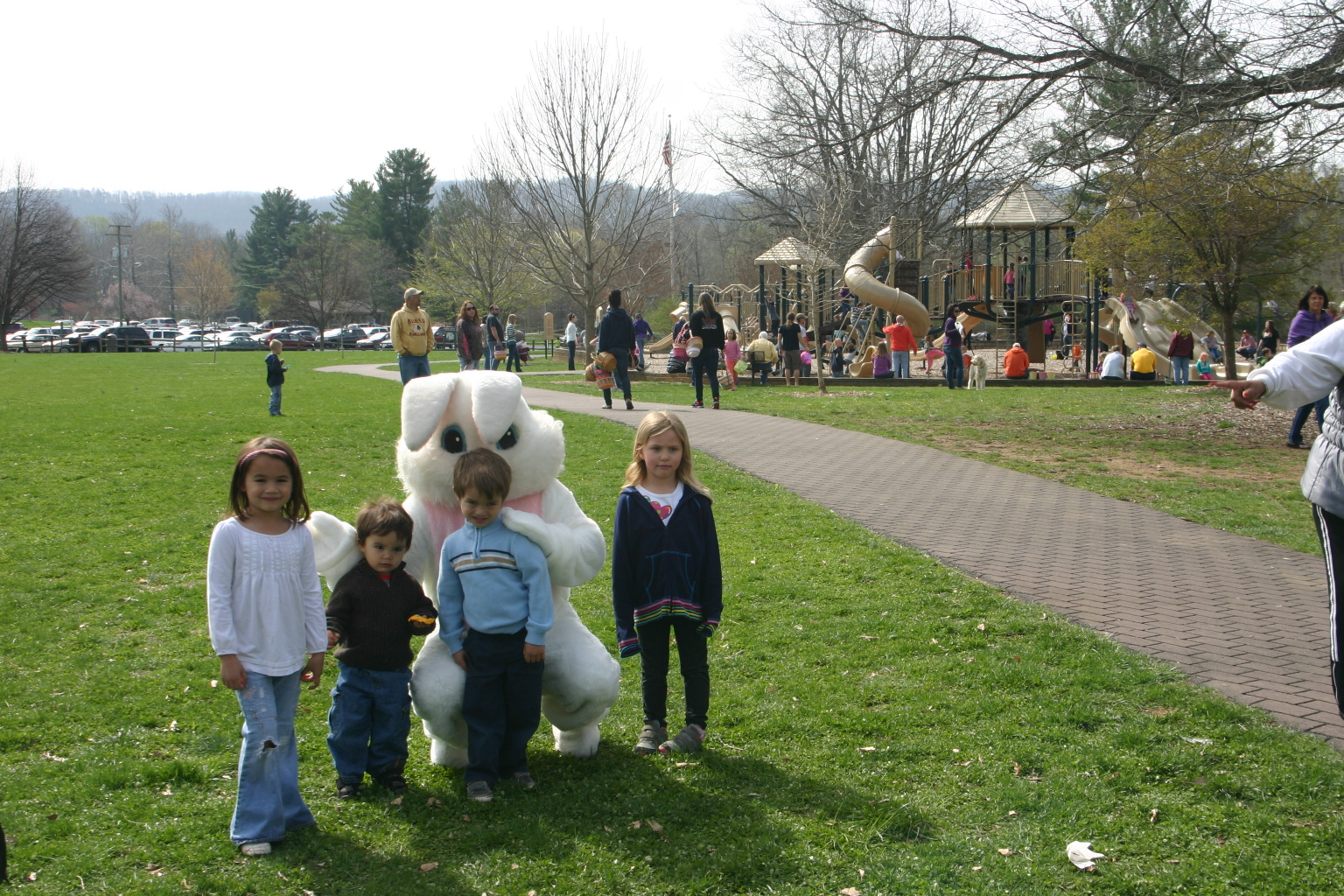 posing with the Easter bunny