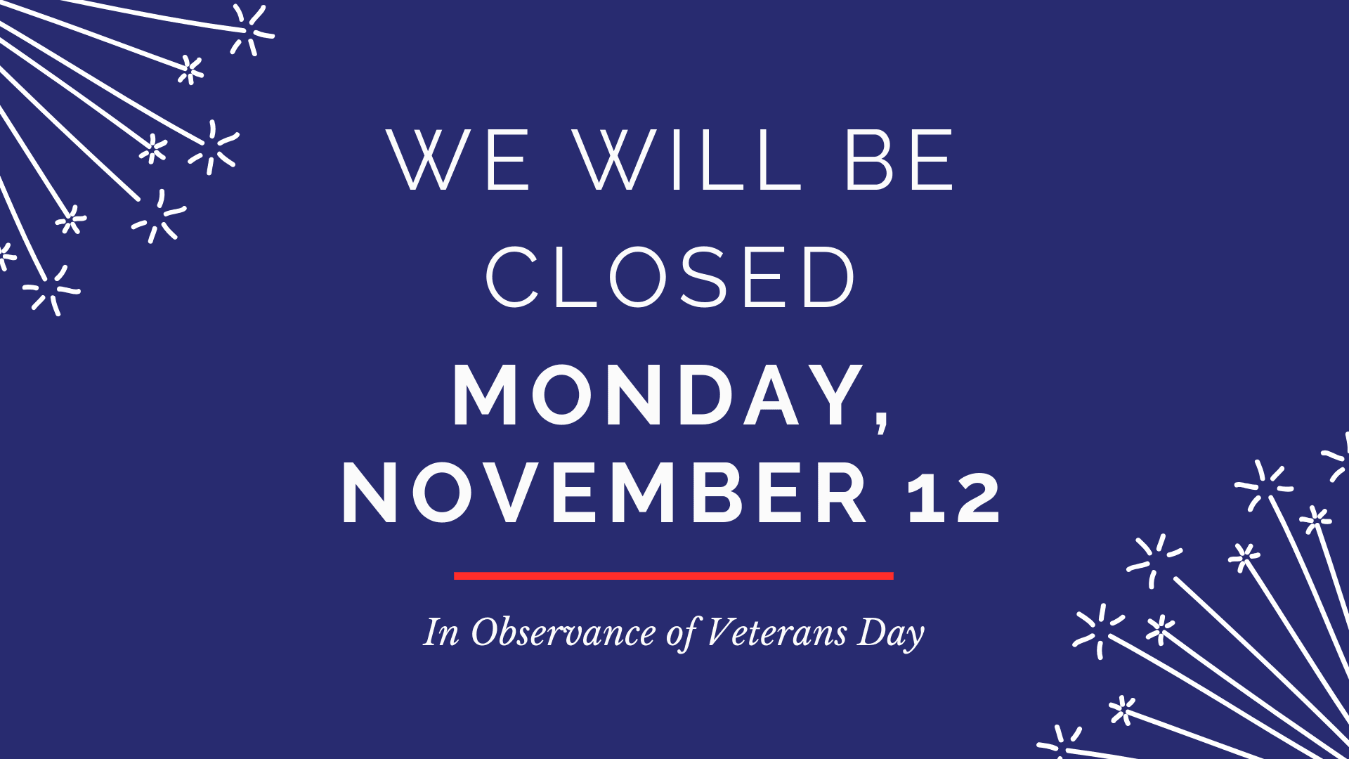 Library Closing Monday November 12 in observance of Veterans Day